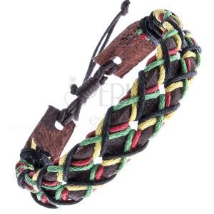 Tmavohnedý kožený náramok - dierkovaný pás, šnúrky, vzor X