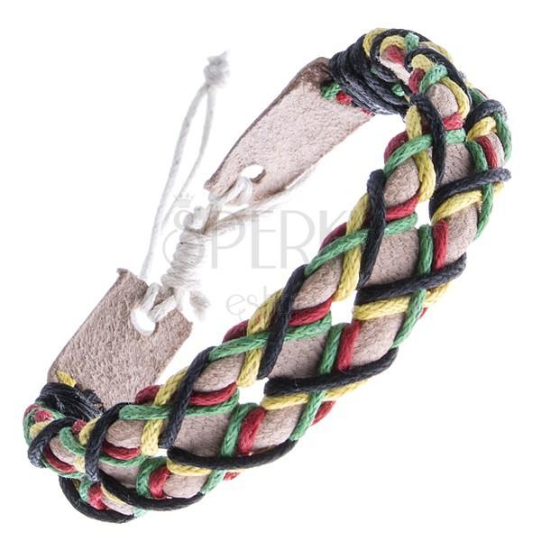 Náramok z kože - béžový pás a štyri farebné šnúrky v mriežke