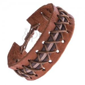 Kožený náramok - karamelovo hnedý, ozdobný pruh, krížené šnúrky