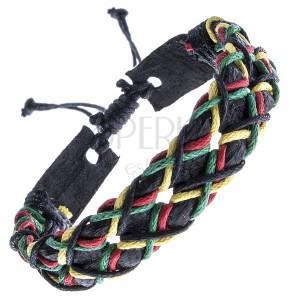 Kožený náramok - čierny dierkovaný pruh, farebné šnúrky