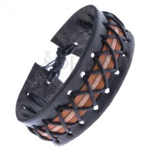 Čierny kožený náramok - tri farebné pruhy a prekrížené šnúrky
