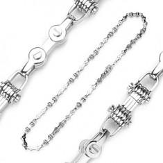 Šperky eshop - Retiazka z ocele 316L - imitácia bicyklovej reťaze, strieborná farba A9.4