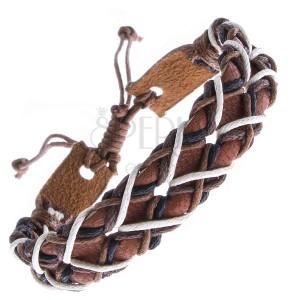 Náramok z kože - karamelový pás s dierkami a šnúrkami