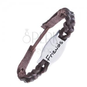 """Kožený pletený náramok, známka z kovu, nápis """"Friends"""""""
