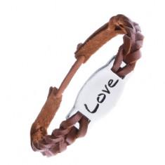 Šperky eshop - Náramok na ruku z kože - karamelovo hnedý so známkou LOVE Z10.17
