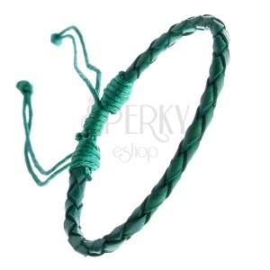 Kožený náramok - oblý pletenec so šnúrkami, zelený