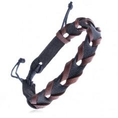 """Šperky eshop - Čierny kožený remienok na ruku - hnedé prúžky do vzoru """"V"""" Z13.9"""