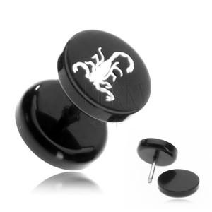 Akrylový fake plug - škorpión v čiernom kruhu