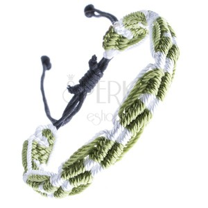 Náramok na ruku zo šnúrok - zeleno-biely, vlnitý, pruhovaný
