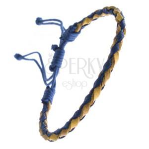 Kožený náramok - oblý pletenec so šnúrkami, modro-žltý
