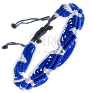 Náramok na ruku zo šnúrok - modro-biely, vlnitý vzor