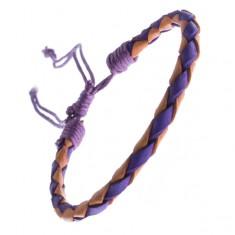 Šperky eshop - Dvojfarebný kožený náramok - oblý pletenec, šnúrky Z11.18