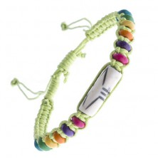 Pletený náramok z motúzikov - zelený, lentilkové koráliky