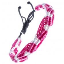 Farebný pletený náramok - ružovo-biele vlnky zo šnúrok