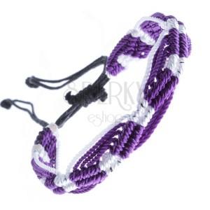 Farebný pletený náramok - fialovo-biele vlnky z motúzikov