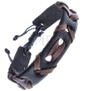 Čierny náramok z kože s prepletenou hnedou šnúrkou