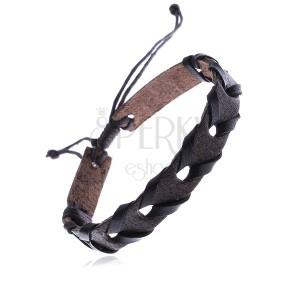 Náramok z kože na ruku, tmavohnedý pás, čierny prúžok