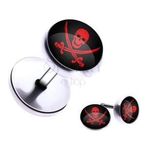 Falošný oceľový plug - lebka a skrížené meče v kruhu