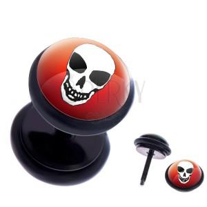 Okrúhly oceľový fake plug - lebka na farebnom pozadí