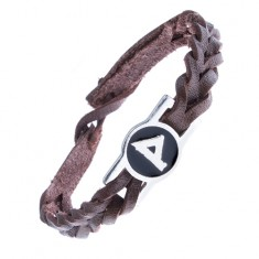 """Šperky eshop - Úzky kožený náramok - hnedý, pletený, známka runa """"Wunjo"""" Z10.20"""