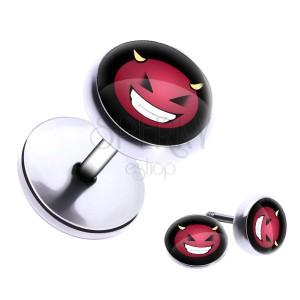 Okrúhly oceľový fake plug so smejúcim sa diablikom