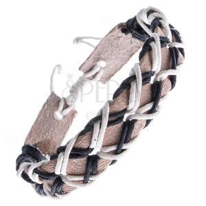 Béžový náramok z kože, dierkovaný, dvojfarebné šnúrky