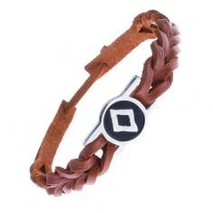 Šperky eshop - Karamelovo hnedý náramok na ruku z kože, runa plodnosti Z9.19