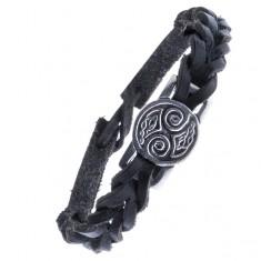 Šperky eshop - Pletený remienok na ruku z kože - čierny, keltské uzly, známka Z15.9