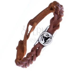 Kožený náramok - karamelový, pletený, keltský vták na známke