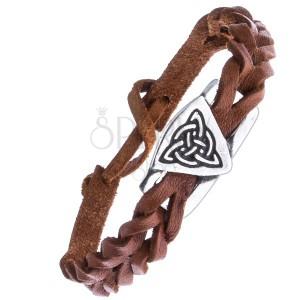 Pletený náramok z kože - karamelový, keltský uzol s kruhom