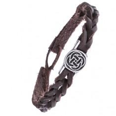 Šperky eshop - Kožený hnedý náramok - pletený, keltský uzol v kruhu Z14.12