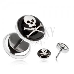Falošný plug z ocele - lebka, skrížené kosti, čierny kruh