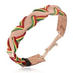 Šperky eshop - Béžový kožený remienok na ruku - trojfarebné prevliekané šnúrky Y52.09