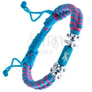 Modro-ružový pletený náramok, modrý valček, kvietky