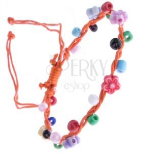 Oranžový šnúrkový náramok - farebné korálky a kvietky
