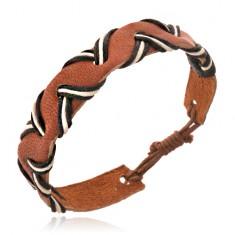 Šperky eshop - Hnedý kožený remienok na ruku - vlnka, čierno-biele šnúrky Y52.11