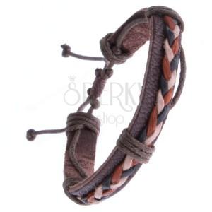 Hnedý kožený náramok – trojfarebné pletené šnúrky