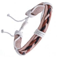 Šperky eshop - Kožený náramok béžový – tri spletené šnúrky Y52.15