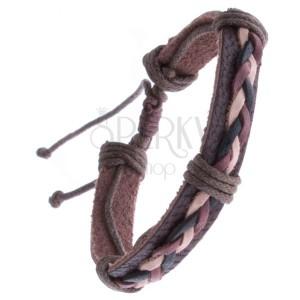 Kožený náramok hnedý – pletenec z troch šnúrok