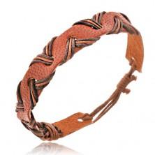 Náramok z kože - karamelovo hnedý, šnúrky vo vlnke