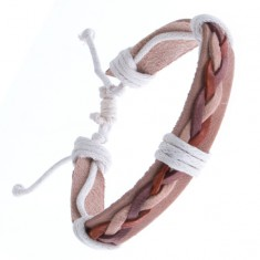 Šperky eshop - Kožený náramok – béžový, tri spletené šnúrky Y52.16