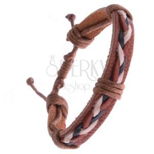 Náramok z kože – karamelovo hnedý, tri pletené šnúrky