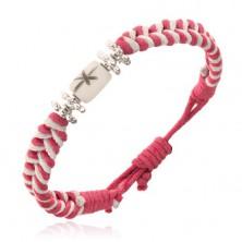 Ružovo-biely šnúrkový náramok s kvietkami a valčekom