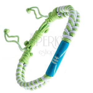 Pletený náramok - zeleno-biele šnúrky, vyrezávaná korálka