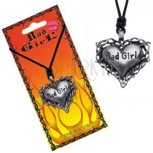 "Náhrdelník s príveskom srdca v tŕní s nápisom ""Bad girl"""