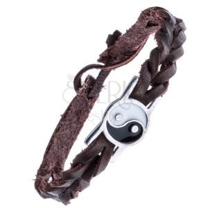 Kožený pletený náramok hnedý – známka, Yin a Yang