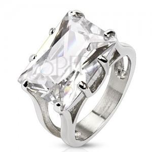 Mohutný prsteň z chirurgickej ocele - číry brúsený zirkón, obdĺžnik