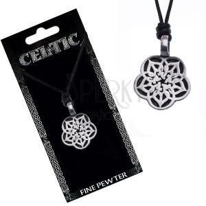 Náhrdelník so šnúrkou - čierny, kovový prívesok, keltský kvet