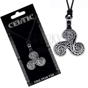 Čierny náhrdelník - šnúrka, keltské vlny