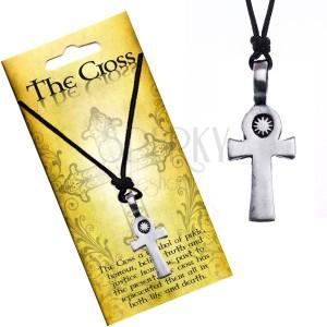 Čierny šnúrkový náhrdelník, prívesok, kríž so slnkom